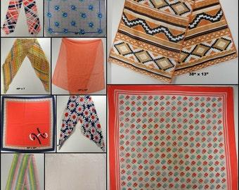 Vintage Scarves lot of TEN kerchiefs