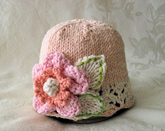 Baby Hat Knitting Knit Baby Hat Knitted Baby Hats Knit baby hat with a flower Knitted Lace Baby Hat Cotton Knitted Baby Hat