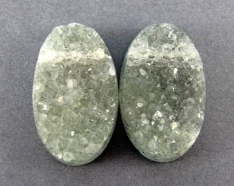 All Natural Druzy Bead Matched Pair