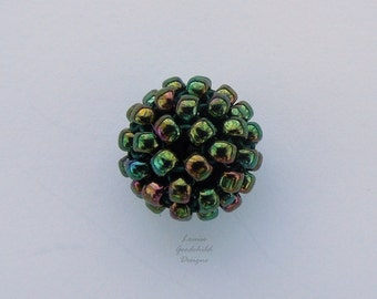 Rainbow green beads, iridescent beads, beaded beads, handwoven beads, MADE TO ORDER hand stitched beads, rainbow 10mm beads woven beads