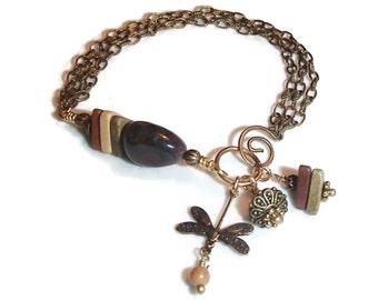 Brass Chain Eclectic Bracelet. Dragonfly. Mookite. Boho. OOAK Jewelry