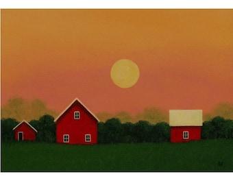 "BARN PAINTING Sunset painting Farm Art Folk Art Painting STUDY  5 x 7"" Small Landscape Painting  Original Art Gift Birthday Country Folk Art"