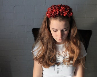 Frida Kahlo Silk Rose Headband with Vintage Silk Flowers and and - Big and Bold High Drama Fascinator - Red Crimson