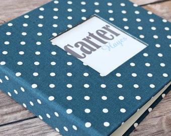 Baby Book, Baby Gift, Baby Album, Baby Memory Book, Baby Keepsake, Modern Baby Book, Navy Mini Polka Dots