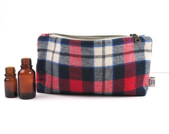 Plaid Essential Oil Bag - Red White and Blue - cosmetic bag zipper pouch essential oil bag