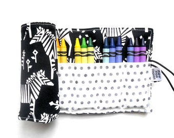 Crayon Roll - Midnight Train - Incognito Tula zebra crayon holder, pencil box accessory, stocking stuffer