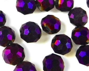 50 pcs 8mm Glass Beads Metallic Purple Round Faceted Czech Fire polished B-75