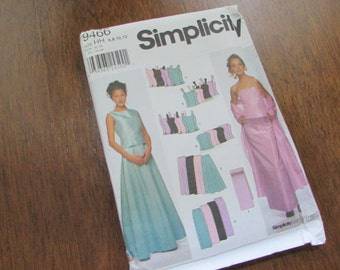 Misses Formal Wear/ Bridal Party Dress  – Skirt, Strapless Top, and/or Wrap – Simplicity 9466 Original Uncut Printed Sewing Pattern