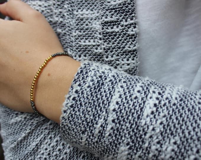 Gold and Gunmetal Grey thin seed bead bracelet