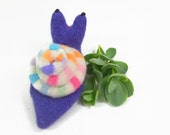 woodland snail, waldorf toy, plush snail toy, wool stuffie, velcro snail