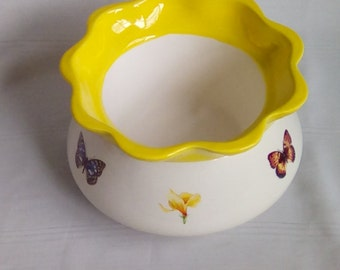 Large African Violet Pot/Planter With Butterflies and Flowers