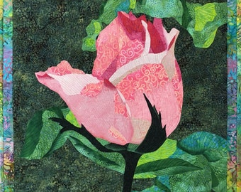 Pink Rose Bud Original Fiber Art by Lenore Crawford