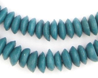 105 Teal Ashanti Glass Saucer Beads - Teal Saucer Beads - Fair Trade Beads - Teal Glass Beads - Teal Disk Beads (SND-DSK-BLU-79)