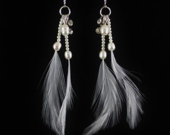 Freshwater Pearl Dangle Earrings with Feathers, Bride Ear wires, Wedding Jewelry, Long Cluster Drop Earrings, FFT original design