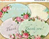 30% OFF SALE - Shabby chic Roses Labels - Tags - Collage Sheet Download - Set of 2 Sheets - Hang Tags - Digital Labels - Shabby chic Labels