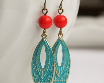 SALE Boho Teal and Dark Orange Earrings