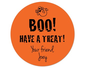 Personalized Halloween Stickers - Custom Favor Labels - Goody Bag Stickers - Candy Bag Labels - Trick or Treat Favors - Boo!