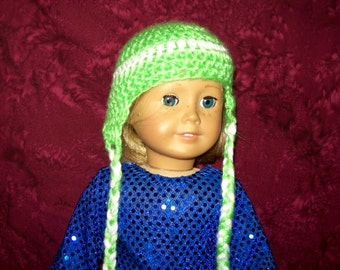 "Fits 18""  doll - Handcrafted beanie with ear flaps"