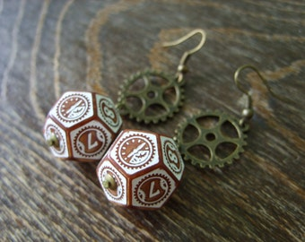 D12 steampunk dice earrings clockwork dice jewelry dnd dungeons and dragons toothed bar pathfinder dice jewelry steam punk earrings dice