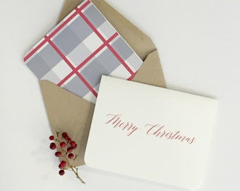 Value Pack Christmas Card, Merry Christmas, Modern Calligraphy Christmas Card, Christmas Cards, Plaid Cards, Modern Cards