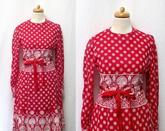 1960s / 70s Vintage Voile Suzy Perette by Victor Costa Dress / Red & White Floral Dress
