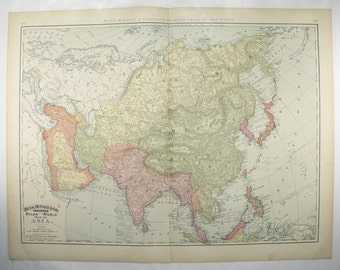 Antique Asia Map, China India Map, Middle East 1898 Large Map, Unique Office Art Gift for Coworker, Asia Wall Map, Vintage Asian Decor
