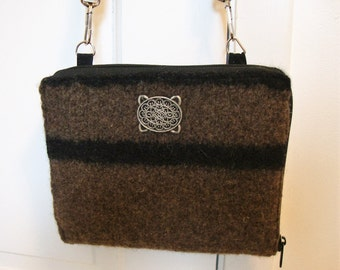 Electronic device wallet in brown felted wool