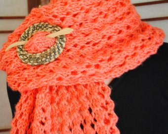 """Coral Little Leaves Fashion Lace Wrap or Scarf -- Shawl/Wrap Pin Included  13"""" x 76""""   Price Reduced"""