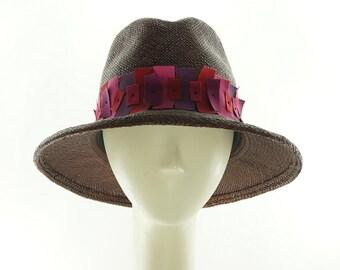 Brown Panama FEDORA HAT / Straw Hat / Handmade by Marcia Lacher Hats