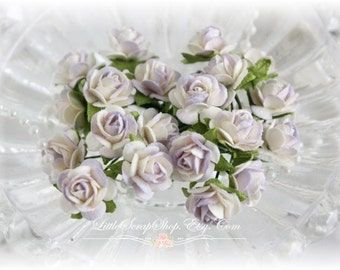 Miniature Roses~Touch of Lilac~ Set of 20 for Scrapbooking, Cardmaking, Altered Art, Wedding, Mini Album
