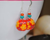Bright Floral Earrings, Lampwork Glass Earrings, Cheerful Earrings, Flower Earrings, Artisan Lampwork Earrings, Flower Power Earrings