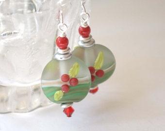 Holly Berry Earrings, Holiday Earrings, Green Earrings, Christmas Earrings, Mistletoe Earrings, Lampwork Earrings, Festive Earrings
