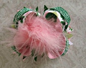 Girls St. Patricks Day Hair Bow- Pink & Green Bow- St. Paddys Day Bow-Boutique Bow- Baby Bow- Toddler Bow- Ready To Ship