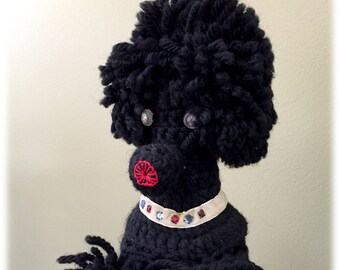 Kitschy Black Crocheted Poodle Bottle Cover, Rhinestone Eyes and Collar, Vintage Kitsch