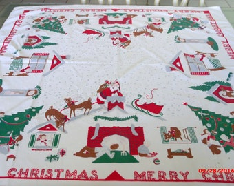 RARE Vintage 50s Family and Pet Christmas Tablecloth Candy Cane Merry Christmas