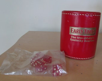 Vintage Early Times Leather Tavern Advertising Dice Cup Signed Dice