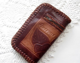 Leather Billfold, Wallet, Venezuela, Tooled, Genuine Leather, Tan,  by mailordervintage on etsy