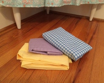 Lot Of Three Vintage Lightweight Gingham Cotton Fabric