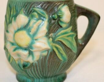 Roseville Pottery Peony Green Mug 2-3