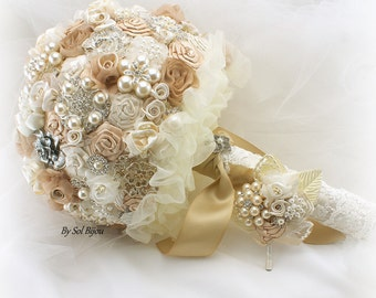 Brooch Bouquet, Tan, Champagne, Cream, Gold, Ivory, Boutonniere, Vintage Wedding, Gatsby, Wedding Bouquet, Lace Bouquet, Crystals, Pearls