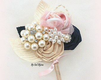 Brooch Boutonniere, Navy Blue, Gold, Blush, Bout, Groom, Button Hole, Mother of the Bride, Father of the Bride, Pearls, Crystals, Elegant