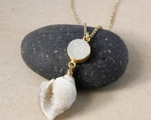 50% OFF Fossilized Druzy Seashell Necklace – Select Your Pendant
