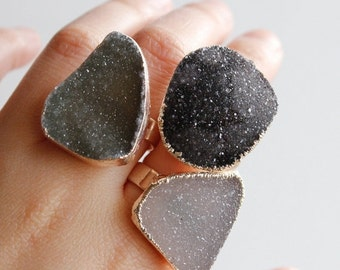 ON SALE Silver Free Form Shape Druzy Rings - Statement Rings - Spring Jewelry, Choose Your Stone