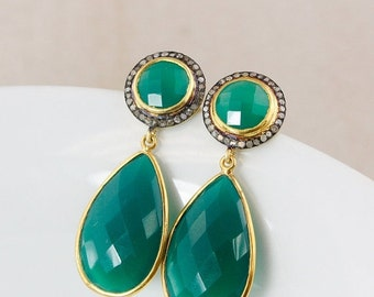 25% OFF Gold Green Onyx and Pave Diamond Earrings – Glamour Earrings