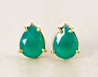 25% OFF Green Onyx Teardrop Studs - Gold Plated