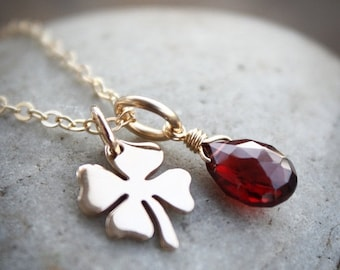 25% OFF Gold Red Garnet Necklace - January Birthstone Necklace - Clover charm