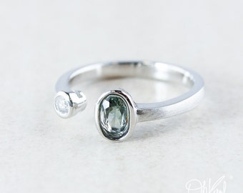 Silver Misty Green/Blue Tourmaline & Diamond Dual Ring - Natural Tourmaline Ring
