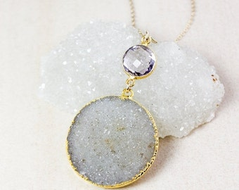 50% OFF Pink Amethyst Quartz and Neutral Druzy Necklace – Choose Your Druzy – 14K Gold Filled Chain