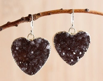 50% OFF Shades of Brown Agate Druzy Heart Earrings - Choose Your Stone - Dangle Earrings, Silver or Gold