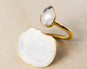 White Opalite and Druzy Dual Ring – Teardrop Opalite – Gold Plated